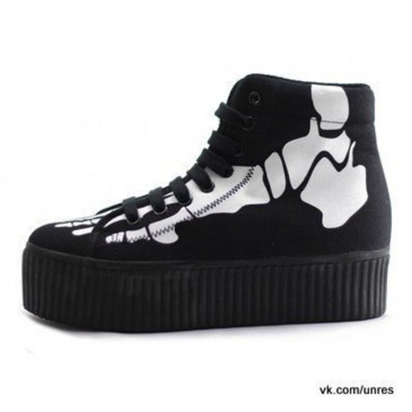 skeleton shoes bones creepers sneakers creepers high heels high heels