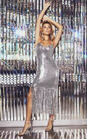 dress,sandal heels,sandals,hailey baldwin,model,celebrity,glitter,glitter dress,silver,silver dress,sequins,sequin dress,sequin prom dress