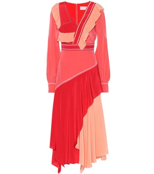 Peter Pilotto Ruffled silk dress in red