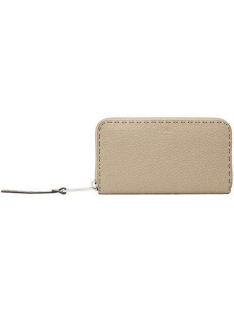 Fendi - zip purse - women - Calf Leather - One Size, Nude/Neutrals, Calf Leather