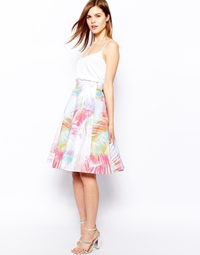 Karen Millen | Karen Millen Full Skirt in Palm Print at ASOS