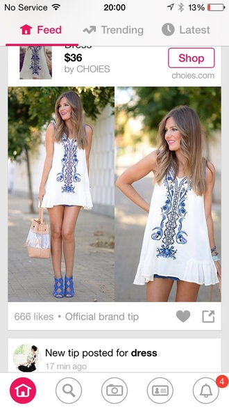 dress white dress blue pattern