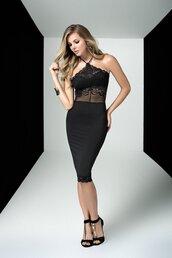 dress,mapalé club wear,black halter dress,lace top,form fitting,bikiniluxe