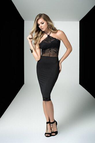 dress mapalé club wear black halter dress lace top form fitting bikiniluxe
