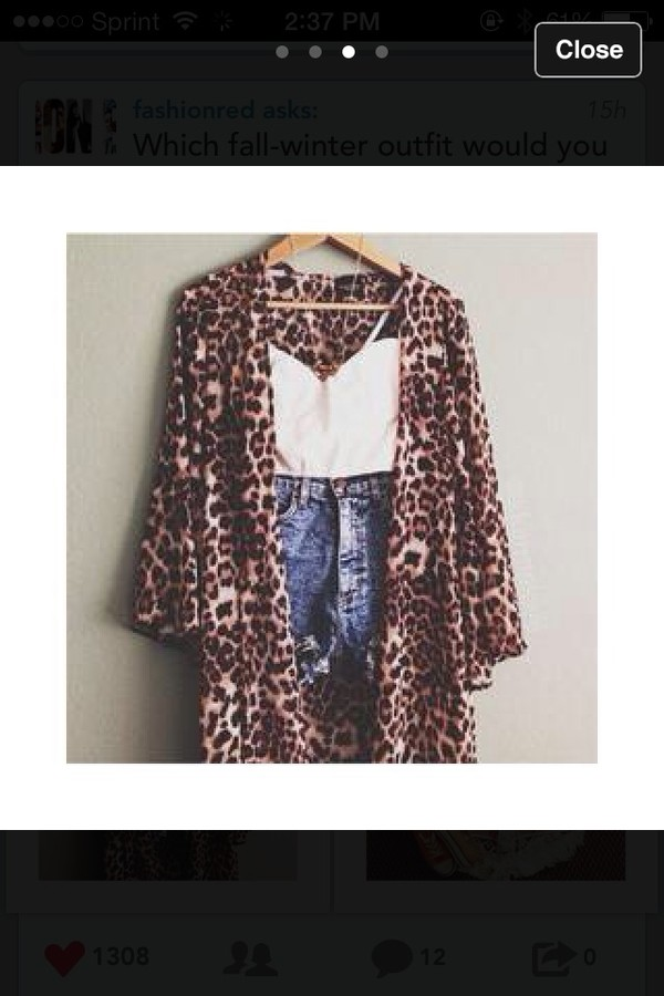 sweater leopard print cute wrap 3/4 sleeves lovely