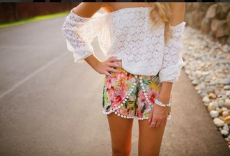 shorts floral white blouse off the shoulder lace top blouse