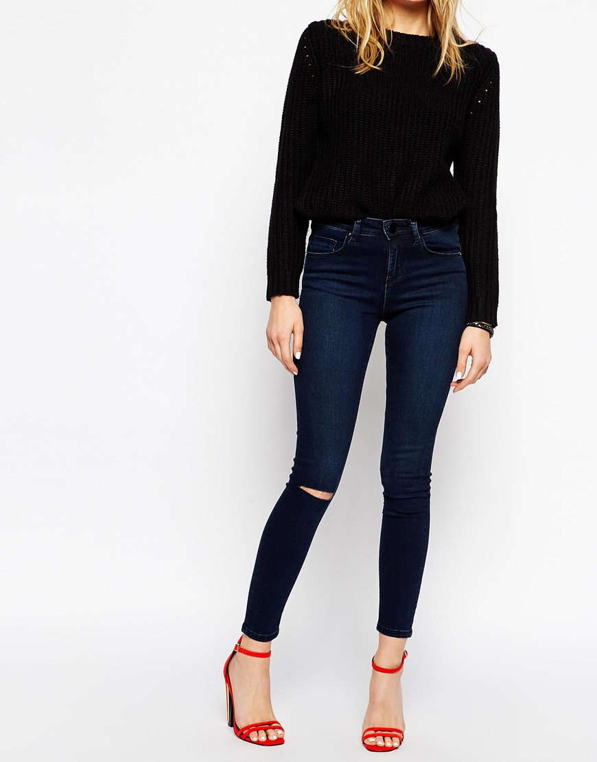 Asos lisbon skinny midrise jeans in sapphire blue wash with ripped knee at asos.com