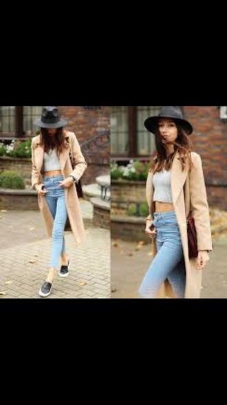 coat jeans blouse style shirt grunge hat