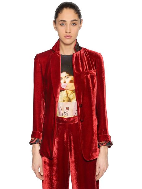 ETRO Single Breasted Velvet Blazer in red