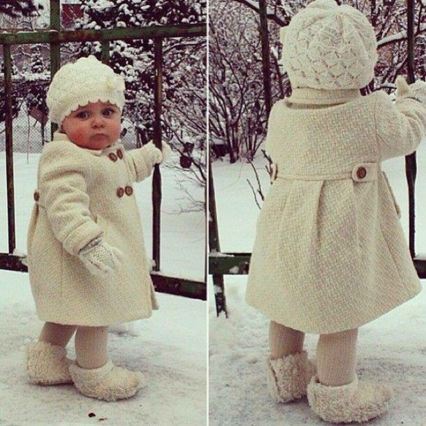 Coat: baby clothing, baby, baby girl, white, winter outfits ...