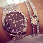 jewels,michael kors bracelet,michael kors,michael kors watch,jewelry,watch,silver,pretty