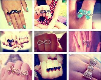 jewels jewelry ring bow ring clothes moustache peace ring love ring