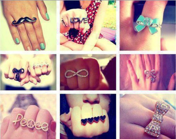moustache jewels ring bow ring clothes peace ring love ring