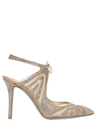 mesh pumps satin nude shoes