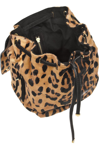 Print calf hair backpack