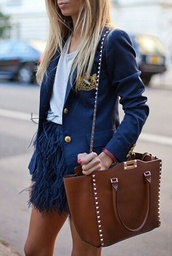 skirt,navy,jacket,bag,mini skirt,feathers,preppy