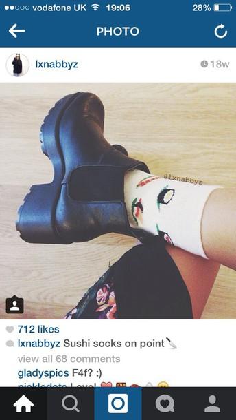socks sushi grunge love shoes