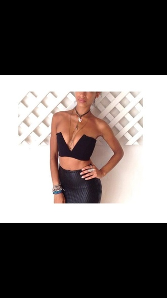 top hot v neck black sexy girly crop tops