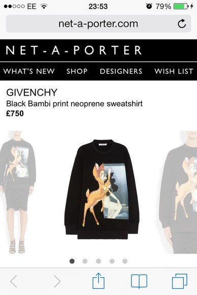 givenchy disney sweater bambi