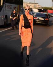 dress,midi dress,turtleneck dress,orange dress,prada,high heels boots,belt bag,sunglasses