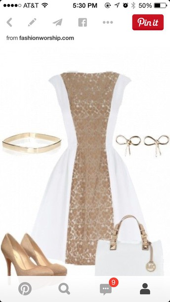 dress white and gold