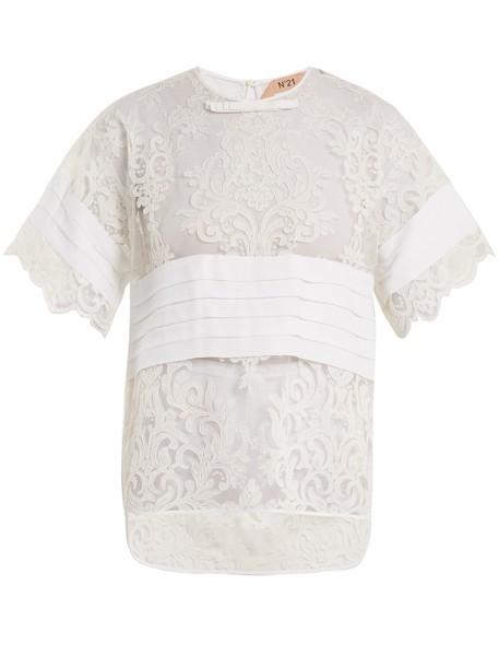 No. 21 t-shirt shirt t-shirt lace white top