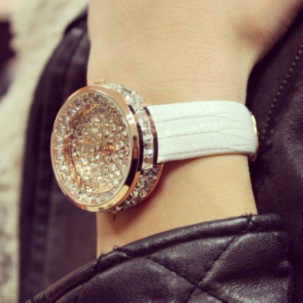 jewels watch rhinestone watch white leather watch swarovski watch