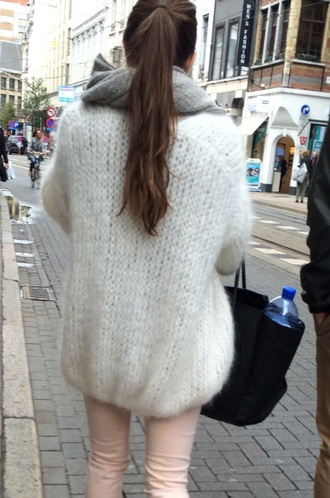 cardigan trendy white oversized