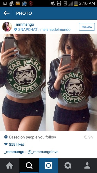 shirt crop tops star wars hipster sweater