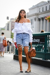 le fashion image,blogger,jewels,top,bag,shorts,denim shorts,cropped jeans,summer outfits,white blouse,handbag,slingbacks,tumblr,off the shoulder,off the shoulder top,long sleeves,denim,brown bag,pumps,mid heel pumps