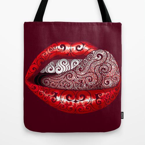 Swirly Precious Tongue Tote Bag by Vectorink