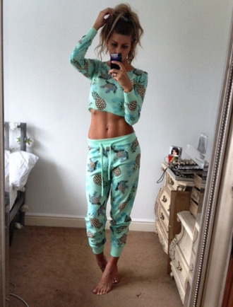 pinapples joggers pajamas pineapple print blue pajamas pinapple print cropped sweater crop tops sweatpants jumpsuit sweats nightwear pj's night sleep aqua pineapple turtles tumblr outfit body goals fruits t-shirt duffle clothes sportswear mint blue pants cute long sleeves blue shirt leggings summer top summer pants