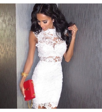 dress evening dress white dress lace dress clutch bag purse accessories see through outfit