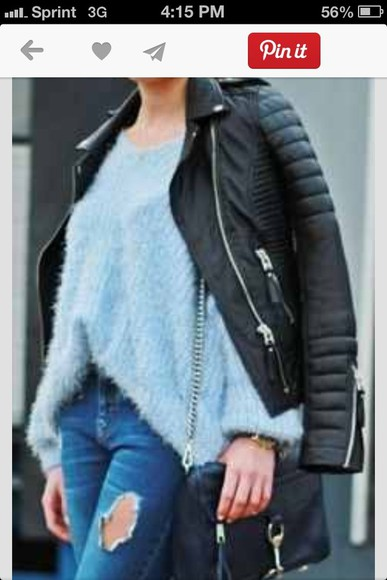 fur sweater blue