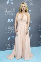 dress,gown,prom dress,long prom dress,nude,hayden panettiere
