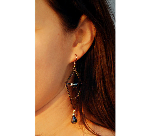 jewels dangle earrings chain earrings black and grey chain jewelry