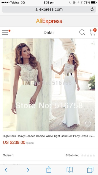 dress white gold belt long and tight gold top lace top lace top dress