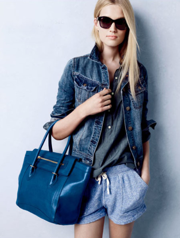 blue bag shorts jacket