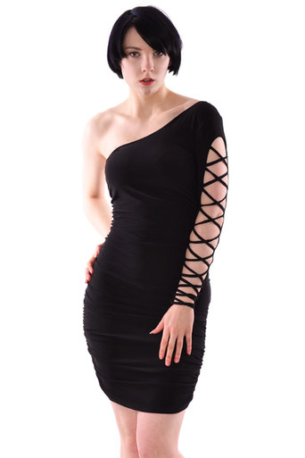 Randy One Shoulder Ruched Style  Bodycon Dress In Black - Pop Couture