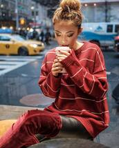 sweater,tumblr,red sweater,stripes,striped sweater,boots,red boots,over the knee boots,velvet over the knee boots,velvet,velvet boots,velvet shoes,pants,black pants,leather pants,black leather pants,hair bun