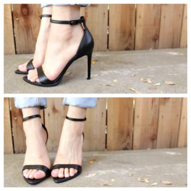 shoes black black high heels high heels cute high heels strappy black heels ankle strap modern modernistic modern shoe sandals straps black heels nude strappy heels