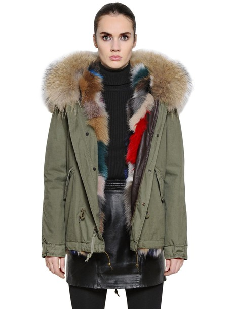 Mr & Mrs Italy jacket fur fox cotton green