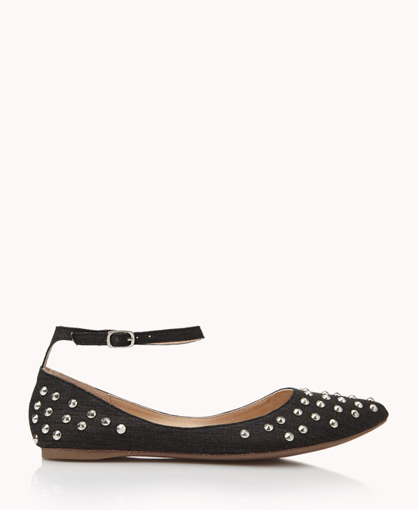 shoes charcoal rhinestones studded ankle strap flats pointed toe pointed flats