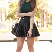 skirt,leather black belt,studs,black leather bag,shirt,going out dress,bag,belt,pleated skirt,skater skirt,black skirt,black leather skirt,leather,black,leather skirt,edgy