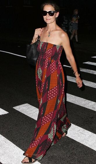 dress maxi dress strapless summer dress katie holmes