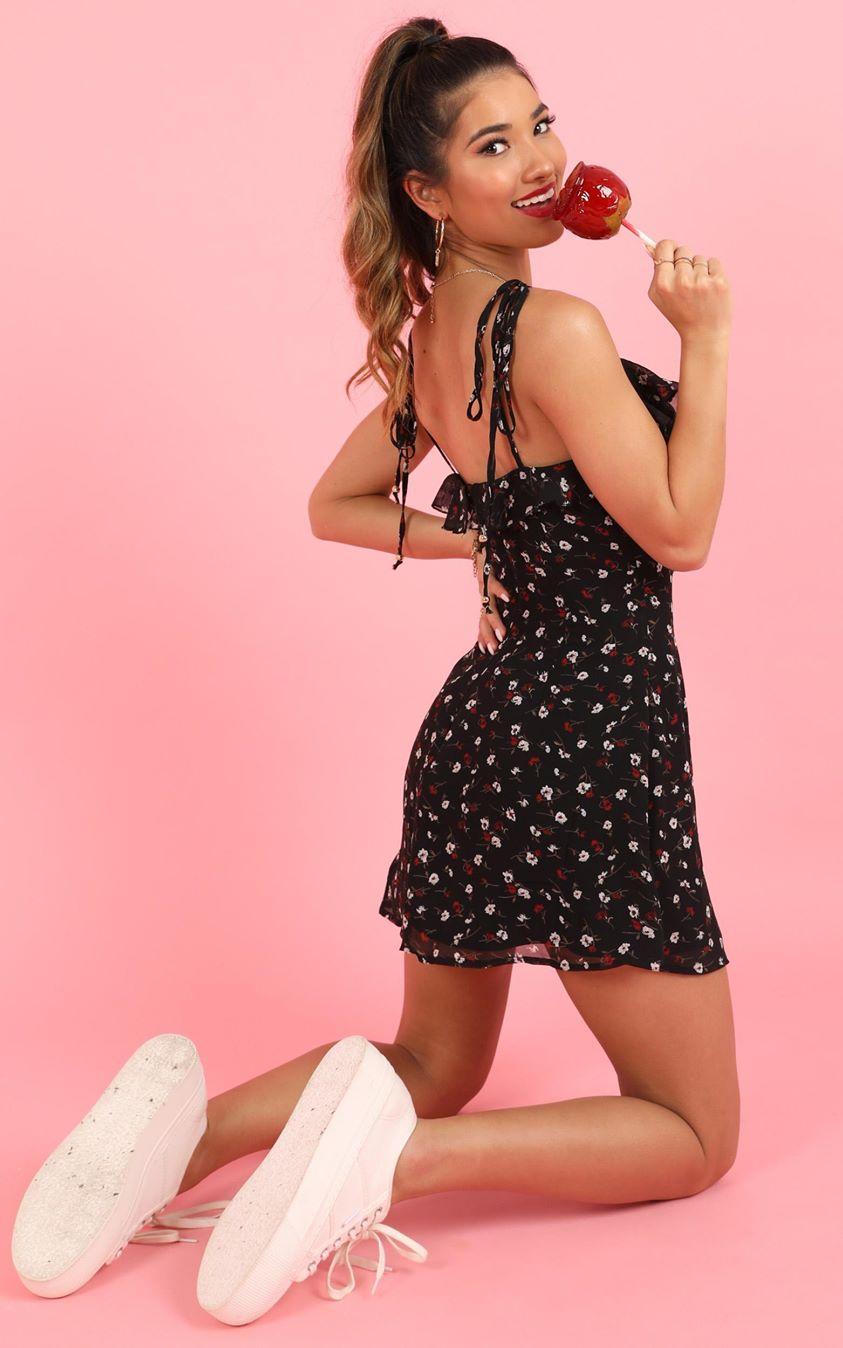 Showpo No Time To Wait Dress in black floral - 4 (XXS) Dresses