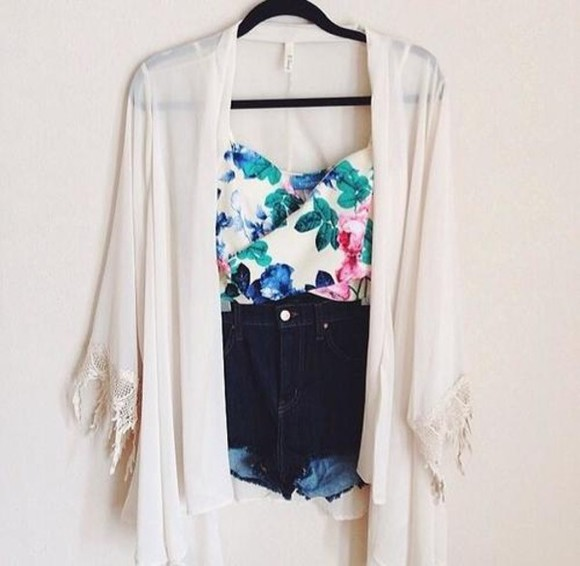 blouse blue pink green white floral shirt chiffon jacket white flower top cute top cute floral top aqua