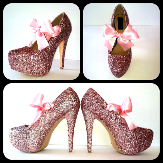 Bubblegum glitter high heels by chelsiedeydesigns on etsy