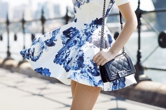 skater dress cute dress quilted bag chain bag chanel bag roses floral dress blue romantic summer dress
