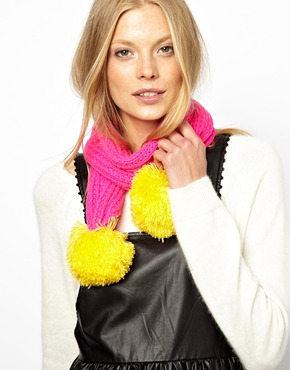 Miss pom pom super pom scarf at asos